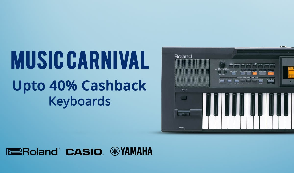 PayTM: Music Carnival – Get Upto 40% Cashback on Keyboards