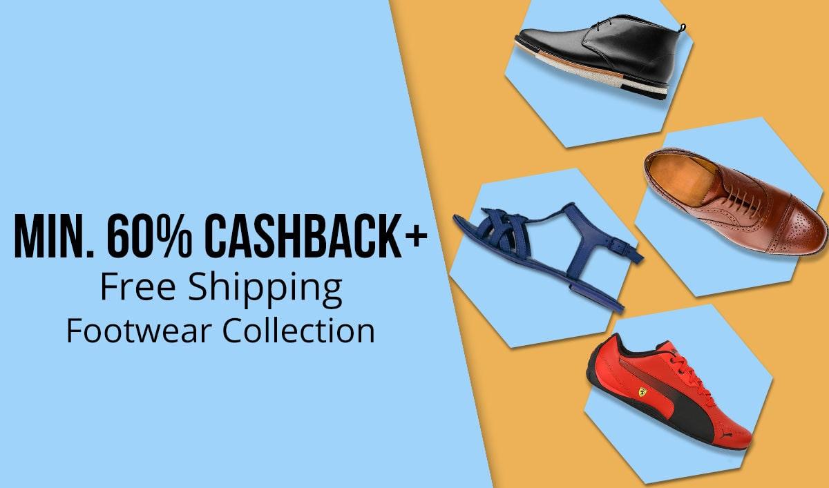 PayTM: Footwear Sale – Minimum 60% Cashback + FREE Shipping