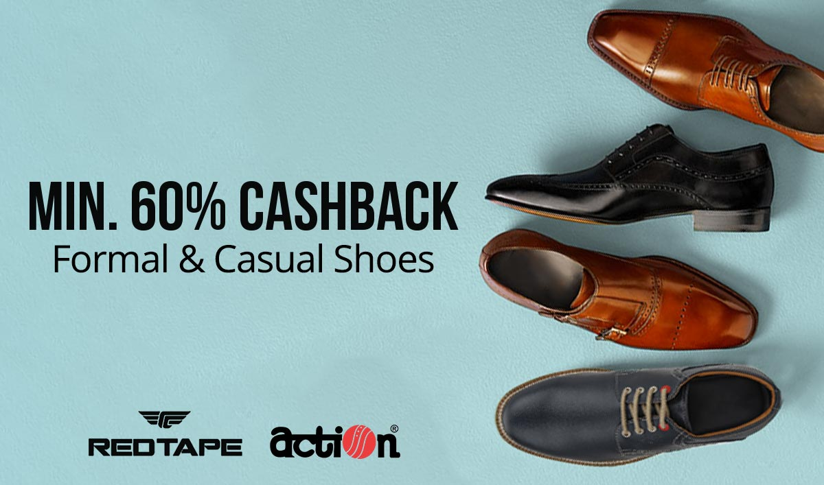 PayTM: Formal & Casual Shoes – Minimum 60% Cashback