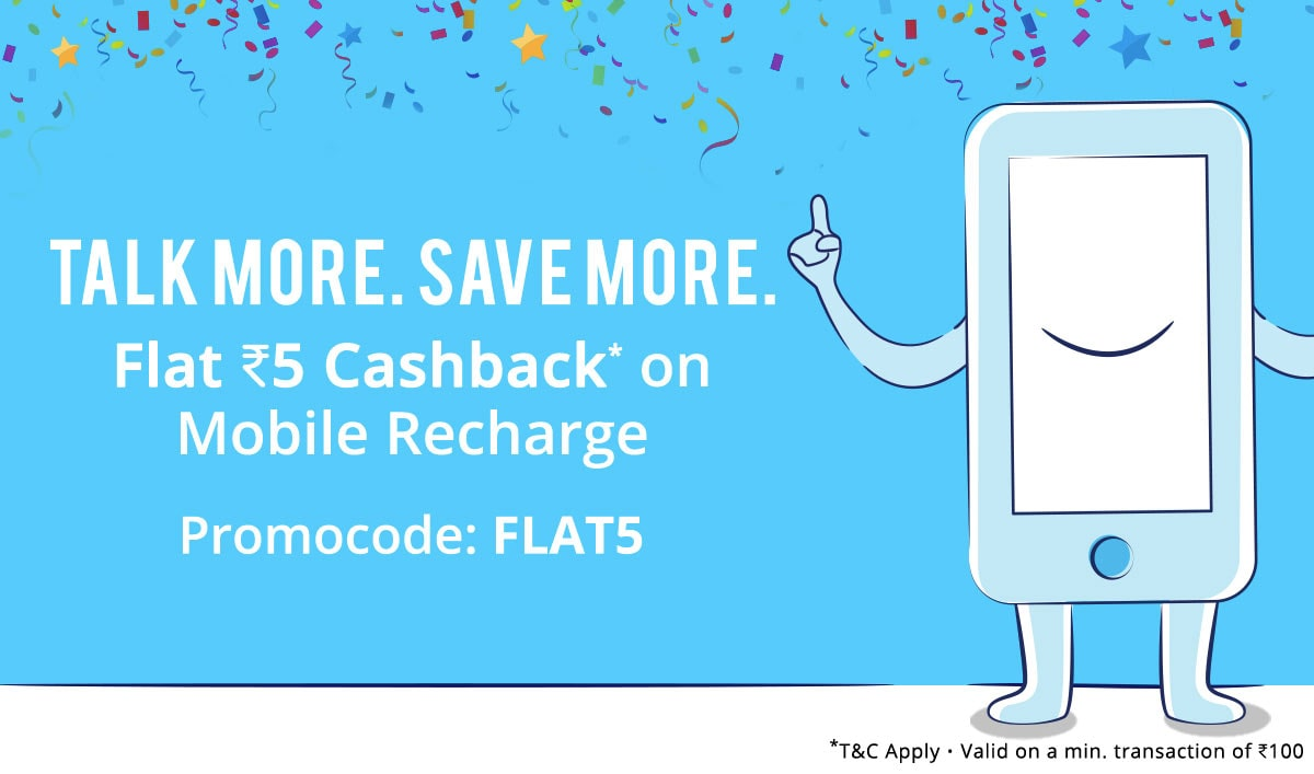 PayTM: FLAT Rs.5 Cashback on Mobile Recharge