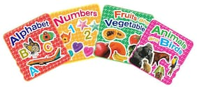 Sterling Board Book Foil Stamping Pack of 4-Alphabet ABC;Number 123;Fruits & Veg.;Animal and Birds