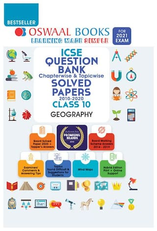 Oswaal ICSE Question Bank Class 10 Geography Book Chapterwise & Topicwise (For 2021 Exam)
