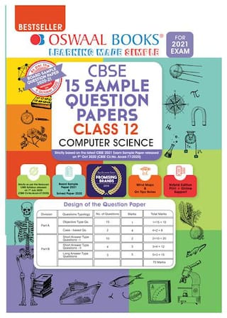 Oswaal CBSE Sample Question Papers Class 12 Computer Science Book (Reduced Syllabus for 2021 Exam)