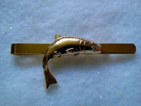 #1 TIE BAR GOLD TONE FISH - MADE IN CZECH