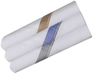 11blue Pure White Luxury Mercerized Cotton Handkerchief for Men (Pack of 3 pcs)