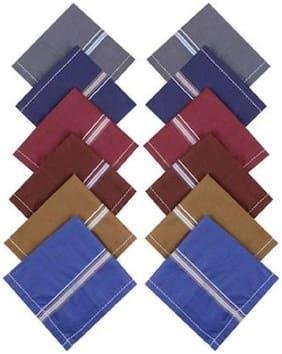 12 pcs ODDEVEN Soft Multicolor cotton Man Handkerchif size 20X20 inch