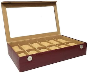 12 Slot Watch Box / PU Leather watch Case / organizer 12 Compartment (CHERRY)