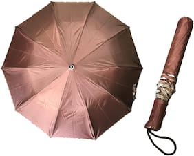 2 Fold (21inch) Unisex Umbrella for Rains, Summer and All Seasons Umbrella (Brown)