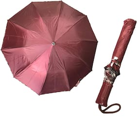 2 Fold (21inch) Unisex Umbrella for Rains, Summer and All Seasons Umbrella (Maroon)