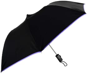 2 Fold Dome Shape, Lightweight Satin Cloth Umbrella, Large Canopy, Rain & Sun Protection (UV rays) Umbrella for Men, Women and Girls, pack of 1, ASSORTED PIPING COLORS