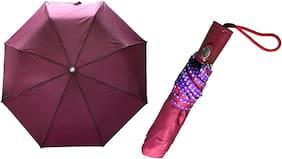 3 Fold (43 inch) Unisex Umbrella for Rains, Summer and all Seasons Umbrella (Dark Pink )