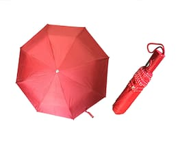 3 Fold (43inch) Unisex Umbrella for Rains, Summer and All Seasons Umbrella (Red)