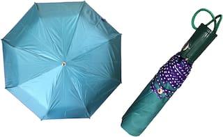 3 Fold (43inch) Unisex Umbrella for Rains, Summer and All Seasons Umbrella (Aqua green)