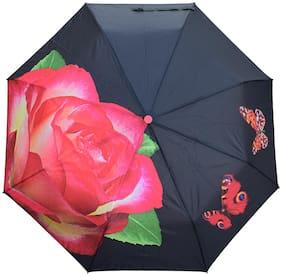 3 Fold Automatic Open Compact Umbrella for Girls Women- Flower Design