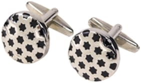69th Avenue Men's Black Adjustable Round Silver Plated Cufflinks