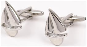69th Avenue Men's Silver Plated Adjustable Yacht Shape Cufflinks