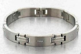 "9mm Stainless Steel Bracelet 8.50"" Mens Simulated Diamond Modern Fashion Style"