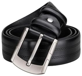AAR BEE WORLD Men Black Synthetic leather Belt (Size: Free size , Pack of 1 )