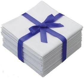 Aashirwad Craft White Handkerchiefs (Set Of 12)
