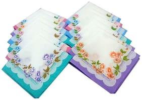 Aashirwad Craft White Handkerchief (Pack Of 12)