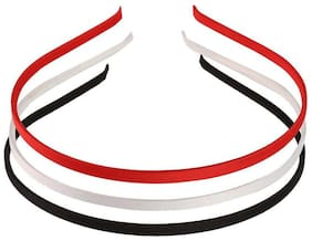 AccessHer Set of 3 red, black, white hair bands for women and girls