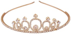 AccessHer Wedding Collection, Party wear Rhinestone Studded Golden Metal Hair Band crown Hair accessory for Girls and Women