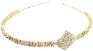 AccessHer Wedding Collection, Party wear Rhinestone Studded Golden Metal Hair Band