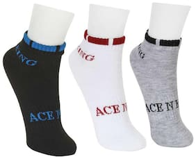 Ace N King Multicolor Ankle Length Socks - 3 Pairs