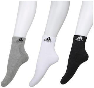Adidas Half Cushion High Quarter Socks - Pack of 3 (Grey Mel/White/Anthra)