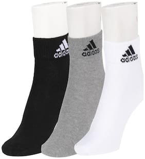 Adidas Men's Flat Knit Ankle Socks - Pack of 3 Pairs