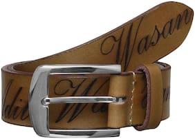 Aditi Wasan Genuine Leather Men's Olive Green Lazer Print Belt