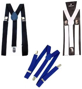 Adjustable strech Y-back Suspender For Man Pack of 3 (Black,White,Blue)
