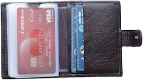 Admetus Men Black Genuine Leather card holder with 20 card slot and small Wallet with Elegant Gift Box ( Model :Adm021)