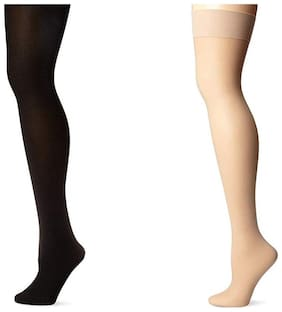 Air Sports Women's Nylon and Cotton Stockings(Stock1, Black and Beige, Free Size) - Pack of 2