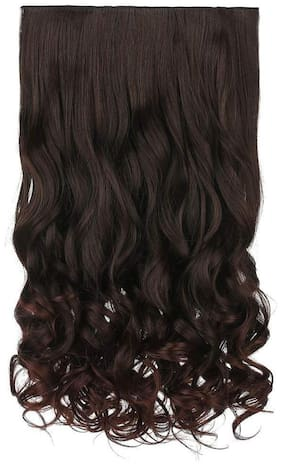 Akashkrishna  Hair extension 1-pack 3/4 Full Head Curly Wave Clips in on Synthetic Hair Extensions Hair pieces for Women 5 Clips 4.6 Oz Per Piece - Dark brown