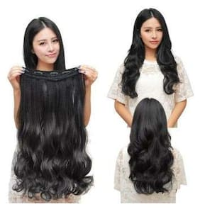 Akashkrishna 5 Clips   Head 1 Piece Hair Extensions For Women And Hair Extensions For Girls To Increase Instant Length And Volume (Black-curly) for shadi and party long hairs