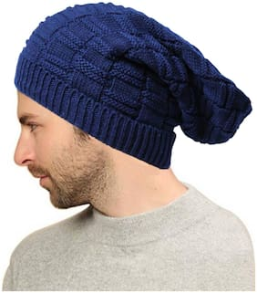 Alamos New Fashion With Stylish Blue Woolen Stretchable Beanie Cap