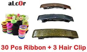 aLcOr 30 Hair Rubbers + 3 pcs Hair Clip