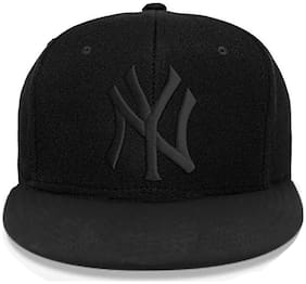 Alcove Unisex Black Embroidery NY Hiphop/Snapback Cap