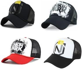 Alcove Men's Linkin Park & NPC Printed Halfnet Caps(Pack Of 4 Caps)