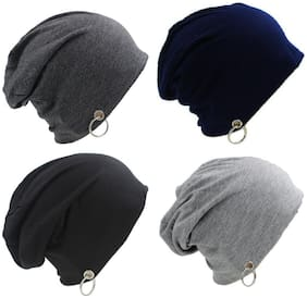 Alcove Pack Of 4 Cotton Slouchy Beanie With Ring For Men And Boys