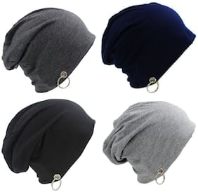 Alcove Unisex Pack Of 4 Cotton Slouchy Ring Beanie(Ring Removable)