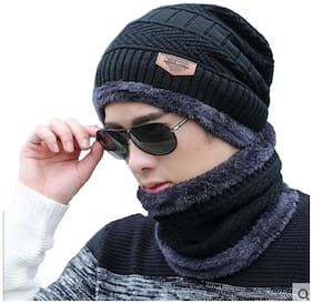 Alexvyan Black Women's and Men's Woolen Inside Fur Snow Proof Warm Winter Soft Beanie Cap with Scarf