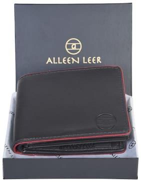 ALLEEN LEER Men Assorted Leather Textured RFID Blocking Bi-Fold Wallet