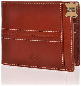 Allen Cooper Men Tan Leather Bi-Fold Wallet ( Pack of 1 )