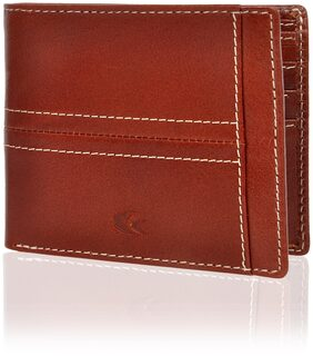 Allen Cooper Men Leather Bi-fold Wallet - Tan