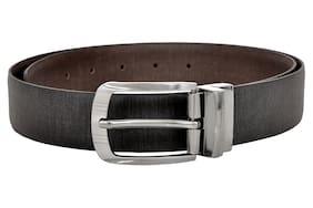 Allen Cooper Men Black and Brown Italian Leather Belt with classic reversible buckle