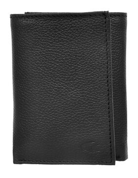 Allen Cooper Men Leather Tri Fold Wallet - Black