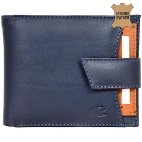Allen Cooper Navy Blue Genuine Leather Luxury Wallet For Men