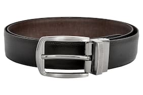 6fa9cfaaab6 Allen Cooper Men Black and Brown Italian Leather Belt with classic  reversible buckle